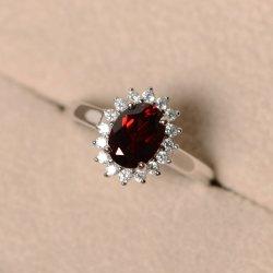 Luxueux 925 Sterling Silver Red CZ Anneaux de mariage