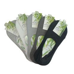Pack-5 Solid Invisible Anti - Odor Basics Crew caviglia Boat Calzini di rivestimento Bamboo No Show Socks