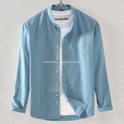 الياقة العصرية قميص قميص قميص غير رسمي بألوان صلبة للرجال