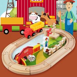 Деревянные интеллектуальные строительные блоки деревянные железнодорожной магистрали игрушки для детей в деревянных железнодорожных,