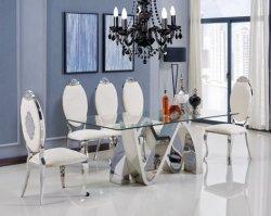 Design de dupla N o aço inoxidável Morden mobiliário com revestimento superior em vidro para casa, restaurante e hotel