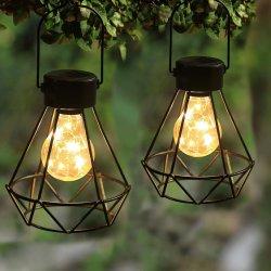 Magic 2 Pack de desligar as luzes solares, Piscina alimentada a energia solar lanternas de mesa com 15 LED lâmpada de luzes de cobre e impermeável, Lanterna Solar com pega para o Estaleiro, Lawn