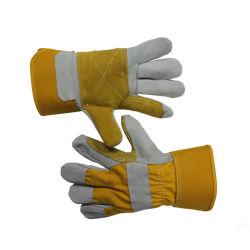 Amarillo Pequeño hombre de cuero de vaca Handjob Seguridad Guantes de trabajo, la construcción de guantes de cuero de piel de vaca personalizado