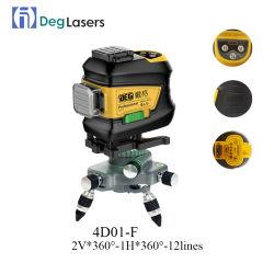 Deg 4D01f Laser 수준 360 수직 수평한 회전하는 Lasers를 수평하게 해 녹색 수준 3D 각자 12의 선 레벨러