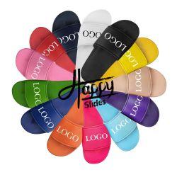 Happyslides デザイナーサンダルの注文のスライド、注文のロゴの黒いスライドのサンダルの人、注文の印刷されたスリッパのスライドの履物