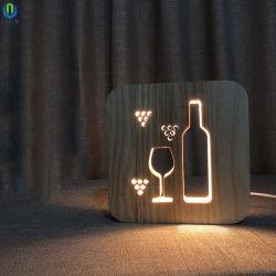 유럽식 단단한 나무 LED 테이블 램프, 포도주 잔 병 밤 빛을 새기는 단단한 나무