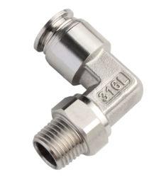 Xhnodal connettore a pressione in acciaio inox 1/8′ ′ Filettatura metallica Raccordo pneumatico a manicotto Elboe maschio
