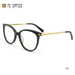 China Fabricante Anti azul do bloco de radiação personalizados de protecção de acetato de barata combinação de Metal Misturar Cat Eye Novo Projeto Óculos Armações de óculos óculos de óptica