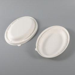 Umweltfreundliche Einweg Kinder Papier Oval Schüssel mit Deckel Lebensmittel Haushaltswaren