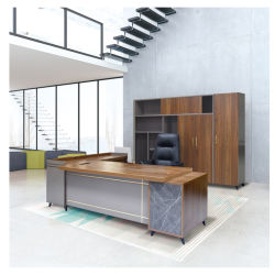 Panel de madera en forma de L mesa de oficina mobiliario de oficina escritorio ejecutivo para la venta