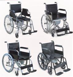 Ancianos discapacitados de acero de aluminio plegado manual médico transporte transferencia cómoda silla de ruedas