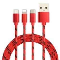 3 in 1 micro tipo multi cavo del USB del caricatore di C per il cavo USB-C del USB del telefono mobile 8-Pin di Xiaomi Samsung che carica Cabel