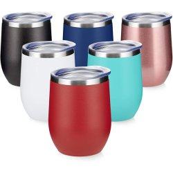 Amazon Top Venditore 12oz doppia parete acciaio inox vino personalizzato Tazze a forma di uovo isolate Tumbler bicchiere da vino con coperchi