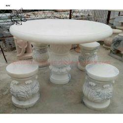 Presidenza di marmo bianca personalizzata mobilia Mtc-07 della Tabella di formato del giardino del fornitore della Cina
