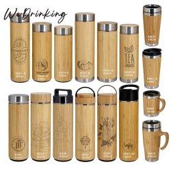 500ml 17oz mur triple isolation sous vide bouteille d'eau de bambou avec crépine