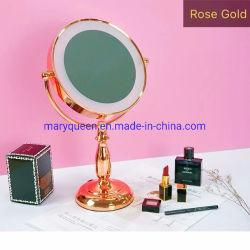 9''закрывается Gold Dual-Sided зеркало с подсветкой1X/3X или 5x или 10X Нажмите индикатор переключателя наружных зеркал заднего вида для макияжа