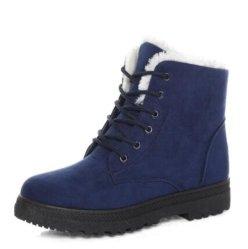 Les femmes en daim Classic Heels bottes d'hiver chaud semelle intérieure en peluche de la cheville de la fourrure Chaussures Femmes Chaussures à lacets femme Boots