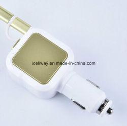 Оптовая торговля автомобильное зарядное устройство USB с втягивающийся кабель micro-USB, два порта USB автомобильное зарядное устройство с помощью кабеля