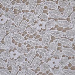 2019 Bonito diseño completo de algodón blanco de encajes bordados vestido tejido