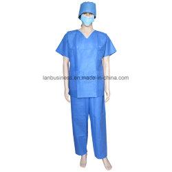 柔らかいSMS Vカラー青は3つのポケットが付いているスーツの短い袖をごしごし洗う