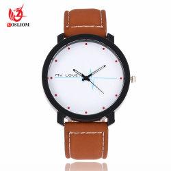 2016 het Populaire Goedkope Horloge van de Manier van de Pols van de Mannen en van de Vrouwen van het Ontwerp met het Zwarte Naaien van de Riem in Witte Lijn - V100