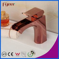 Soupape de noyau en céramique moderne Fyeer Or Rose du bassin de chute d'eau du robinet
