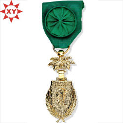 Hot Sell Medaillen vergoldet mit Mode handgefertigten grünen Band