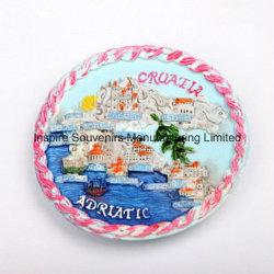 Forme ronde colorée Polyresin Fridge Magnet, OEM a accepté des cadeaux promotionnels (PMG004)