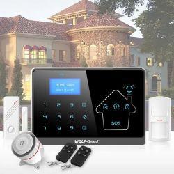 De banda quádrupla GSM e RTPC Rede Duplo Sistema de Alarme da tela de LCD com relógio compatível com a ID do contato