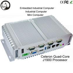 인텔 J1900 Fanless 부유한 입력/출력 6 USB 다중 COM Flj 상자 J1900를 가진 산업 소형 상자 PC