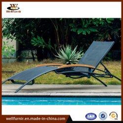 En el exterior de aluminio ajustable de muebles de jardín con piscina y solarium de eslinga