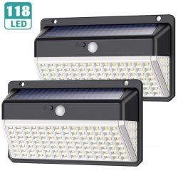 Imperméable IP65 mur de LED de lumière solaire lumières solaires jardin extérieur 118 LED