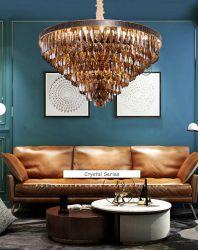 빌라 크리에이티브 Hanging Light 메탈 클래식 모던 골드 크리스탈 샹들리에 가정용 거실