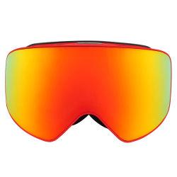Nouveau design anti brouillard populaire anti-rayures 3D de l'Armure châssis mince la sangle en nylon doux visage éponge Painting Red Lunettes de ski de plein air