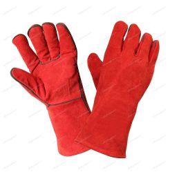 Guanti in pelle crosta rossa con rivestimento in fibra