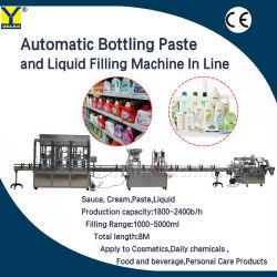 自動6つのヘッドガラスビンミネラル装飾的な水飲料のクリームオイルのヨーグルトジュースの液体満ちるびん詰めにする機械