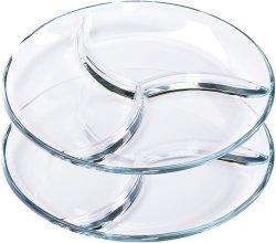 Platos de vidrio redonda transparente un plato de ensalada Fácil de colocar diferentes alimentos