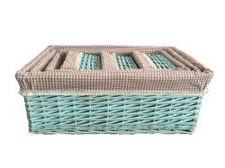 Willow Storage Basket 세탁물 도매용 Wicker Basket with Liner 잡화제품 자체 제작 웨브