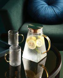 1600ملل زجاجة تيابوت مخصصة من بوروسيليكات مجموعة إبريق زجاجي مائي مع غطاء من الفولاذ المقاوم للصدأ و6 أكواب