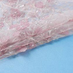 Sequin 결혼 예복을%s 신부 메시 자수 직물 레이스를 가진 X545-1 분홍색 Tulle 구슬
