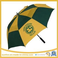 판촉/상업 크기 초과 맞춤형 로고 인쇄 방풍 자동 스틱 골프 우산 더블 캐노피 통풍구 포함 프로모션/선물/광고/도매