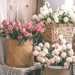 Seda Artificial Toque Real bouquet de flores Leaf Rose Casamento Decoração Floral Bouquet