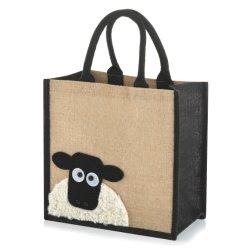 ジュート・ヘシアン・バーラップ・ミディアム・アニマル・トート・ショッピングバッグ折りたたみ式リユーザブル ライフバッグ