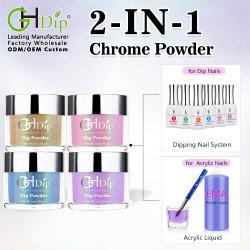 2en1 Utiliza acrílicos y polvo de inmersión para Chrome uñas Arte