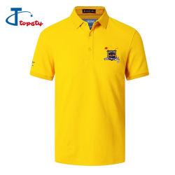 맞춤형 고화질 하프문 패치 남성용 옐로우 코튼 반팔 폴로 셔츠