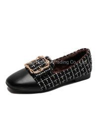 PU Lady Loafers Sapatos com peles com pêlo