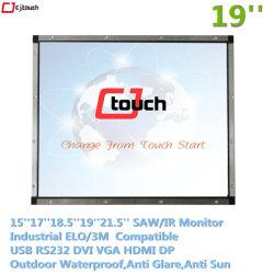 شاشة LED تعمل باللمس مقاومة للماء مقاس 19 بوصة، إطار Openframe Cjtouch، تعمل بالأشعة تحت الحمراء ومقاوم للماء