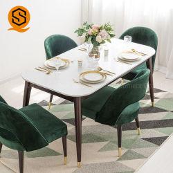 Encimera de mármol blanco colorida mesa de comedor Superficie sólida colorida mesa de comedor