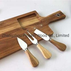 Fsc de madera de acacia de la Junta de queso con 3 piezas Conjunto de cuchilla