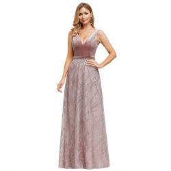 形式的で長いビロードの接続のイブニング・ドレスと結婚するプラスのサイズの女性のイブニング・ドレスの夜会服のプロム党